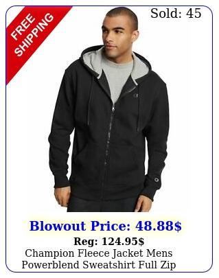 champion fleece jacket mens powerblend sweatshirt full zip hooded stitched log