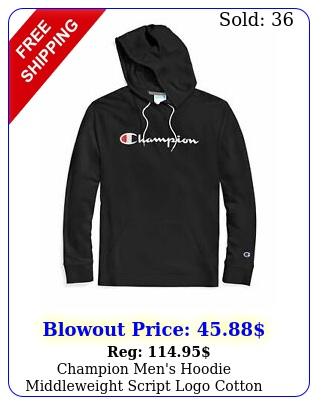 champion men's hoodie middleweight script logo cotton jersey athletic fit kang