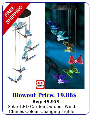 solar led garden outdoor wind chimes colour changing lights hanging butterfly u