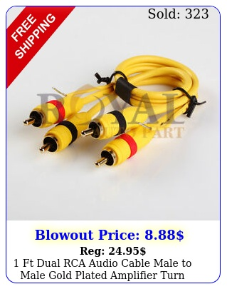ft dual rca audio cable male to male gold plated amplifier turn onoff wir