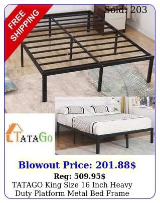 tatago king size inch heavy duty platform metal bed frame mattress foundatio