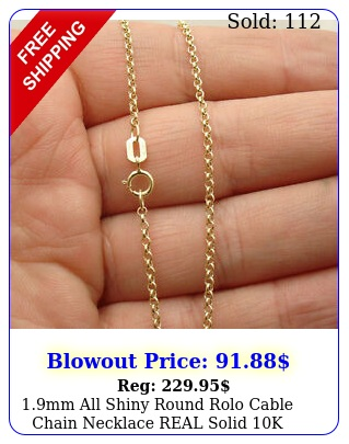 mm all shiny round rolo cable chain necklace real solid k yellow gol