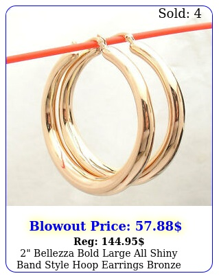 bellezza bold large all shiny band style hoop earrings bronze rose pink colo