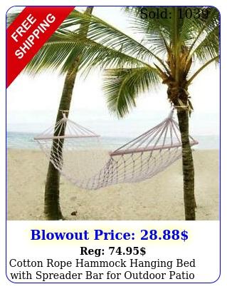 cotton rope hammock hanging bed with spreader bar outdoor patio yard porc