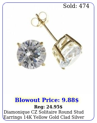 diamonique cz solitaire round stud earrings k yellow gold clad silver all siz