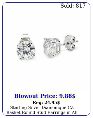 sterling silver diamonique cz basket round stud earrings in all carat size