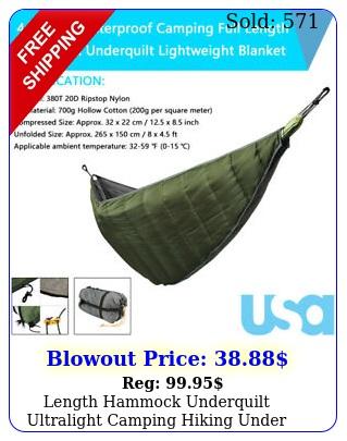 length hammock underquilt ultralight camping hiking under quilt warm blanke