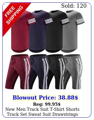 men track suit tshirt shorts track set sweat suit drawstrings heavy weigh