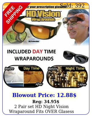 pair set hd night vision wraparound fits over glasess sunglasses as seen on t