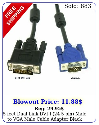 feet dual link dvii  pin male to vga male cable adapter blac