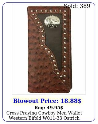 cross praying cowboy men wallet western bifold w ostrich brow