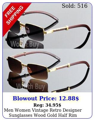 men women vintage retro designer sunglasses wood gold half rim frame s fashio