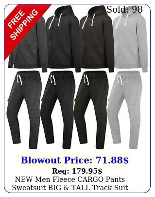 men fleece cargo pants sweatsuit big tall track suit jogger jacket hoode