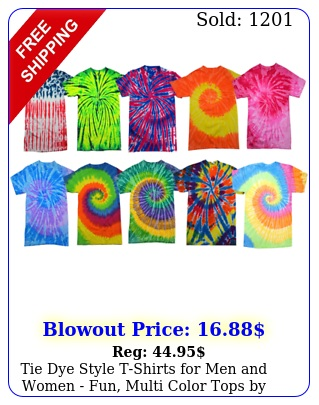 tie dye style tshirts men women fun multi color tops by krazy tee