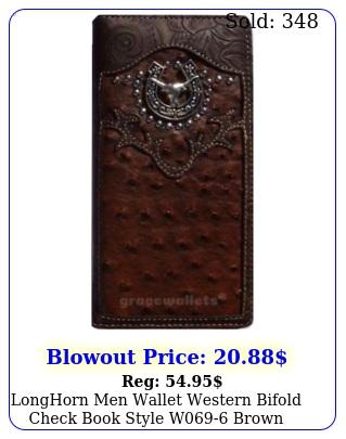longhorn men wallet western bifold check book style w brow