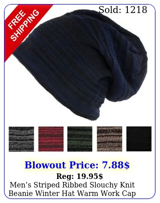 mens striped ribbed slouchy knit beanie winter hat warm work cap soft tobogga