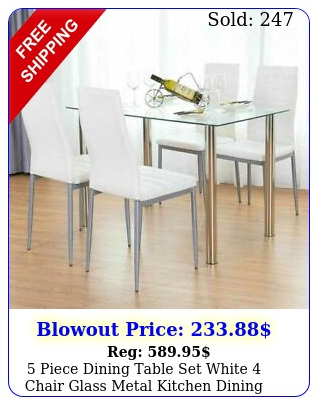 piece dining table set white chair glass metal kitchen dining room breakfas