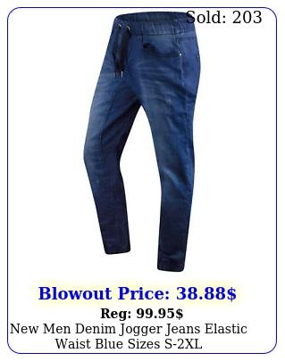 men denim jogger jeans elastic waist blue sizes sx