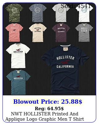 nwt hollister printed applique logo graphic men t shirt tee by abercrombi