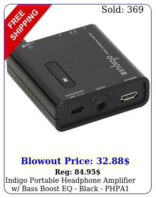 indigo portable headphone amplifier w bass boost eq black php