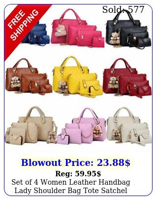 set of women leather handbag lady shoulder bag tote satchel purse card holde