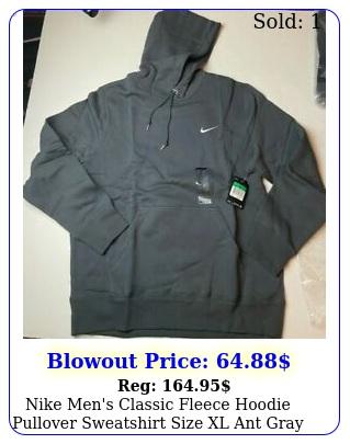 nike men's classic fleece hoodie pullover sweatshirt size xl ant gray nw