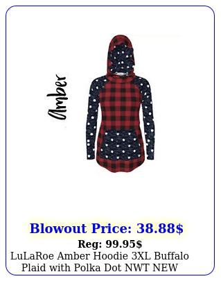 lularoe amber hoodie xl buffalo plaid with polka dot nw