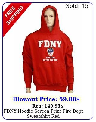fdny hoodie screen print fire dept sweatshirt re