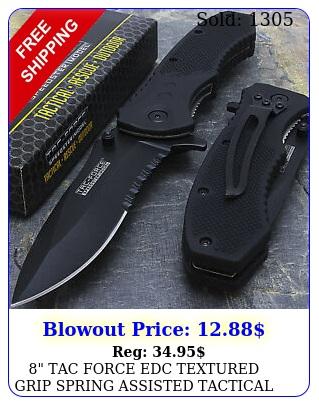 tac force edc textured grip spring assisted tactical pocket knife blad