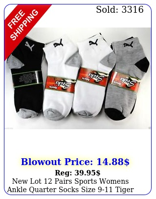 lot pairs sports womens ankle quarter socks size tiger cotton casua