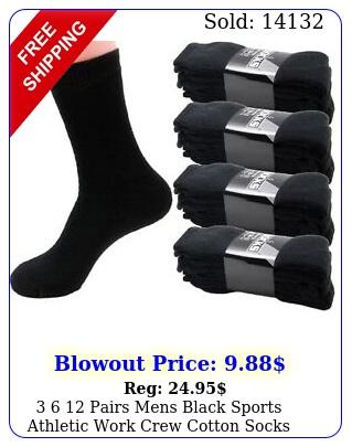 pairs mens black sports athletic work crew cotton socks size