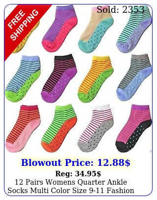 pairs womens quarter ankle socks multi color size fashion cotton casua
