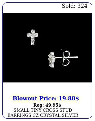 small tiny cross stud earrings cz crystal silver tone titanium post unise