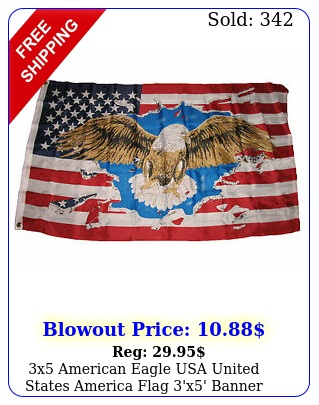 x american eagle usa united states america flag 'x' banner brass grommet