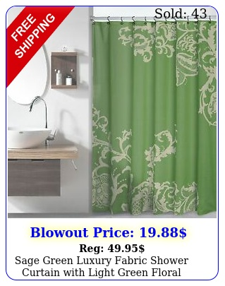 sage green luxury fabric shower curtain with light green floral patter