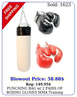 punching bag w pairs of boxing gloves mma training sparring canvas heavy dut