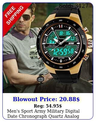 men's sport army military digital date chronograph quartz analog wrist watch u
