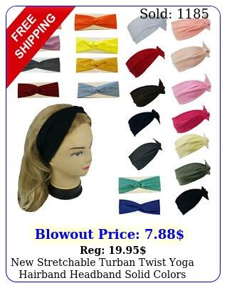 stretchable turban twist yoga hairband headband solid colors sport