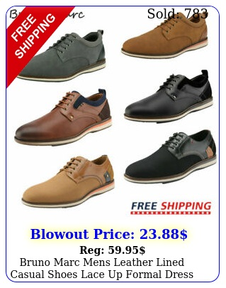 bruno marc mens leather lined casual shoes lace up formal dress oxford shoe