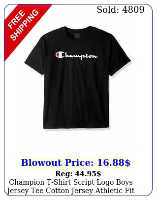 champion tshirt script logo boys jersey tee cotton jersey athletic fit classi