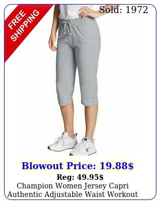 champion women jersey capri authentic adjustable waist workout pants comfort nw