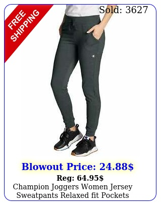 champion joggers women jersey sweatpants relaxed fit pockets cotton in insea