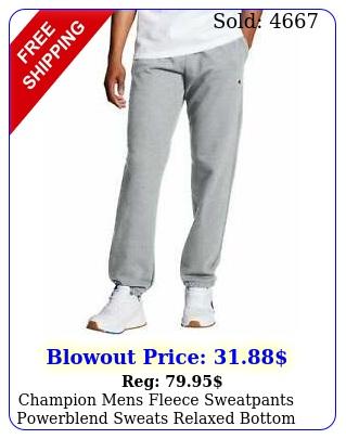 champion mens fleece sweatpants powerblend sweats relaxed bottom pockets elasti