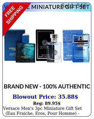 versace men's pc miniature gift set eau fraiche eros pour homme bran