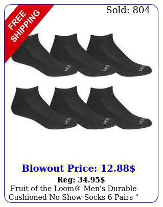 fruit of the loom men's durable cushioned no show socks pairs big tal