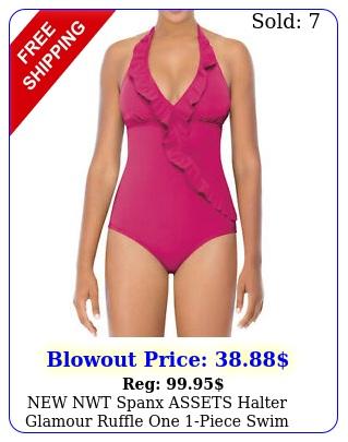 nwt spanx assets halter glamour ruffle one piece swim suit women l larg