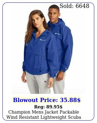 champion mens jacket packable wind resistant lightweight scuba hood kanga pocke