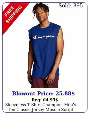 sleeveless tshirt champion men's tee classic jersey muscle script logo ringspu