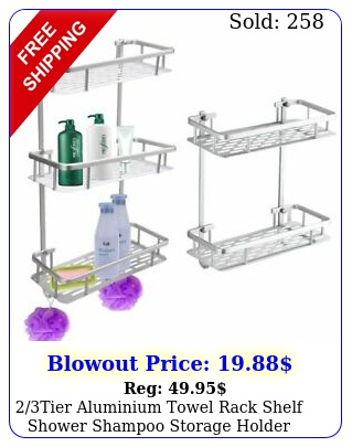 tier aluminium towel rack shelf shower shampoo storage holder bath organize