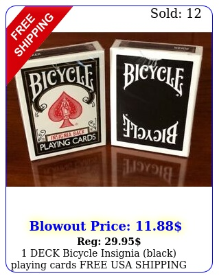 deck bicycle insignia black playing cards free usa shippin